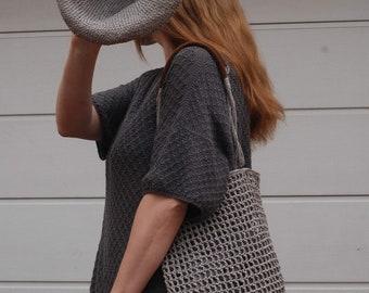 Net bag tote gray raffia summer bag crochet tote eco-friendly gift idea for her mom girl