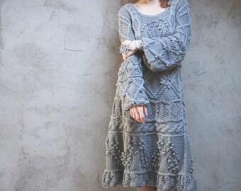 Gray hand knit dress - boho dress - cotton - custom order