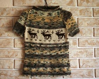 Hand knit woman fair isle sweater tee-shirt with reindeer scandinavian pattern - made to order