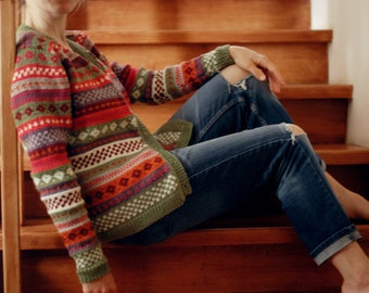 multicolored fair isle sweater womans jacket