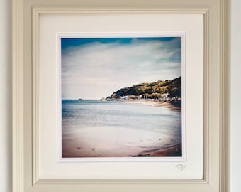 Large Wooden Framed Gower Photo Art  Print by Rebecca Jory, 'Mumbles Bay'.
