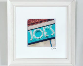 Framed Print. Joe's Ice Cream Parlour, Mumbles, Gower, vintage effect photo art print by Rebecca Jory