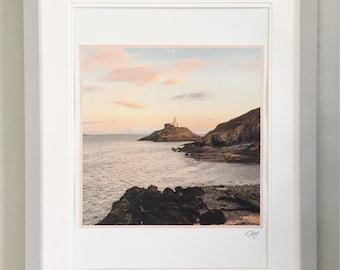 Gower Photo Art Framed Print by Rebecca Jory. Mumbles Lighthouse at dusk.