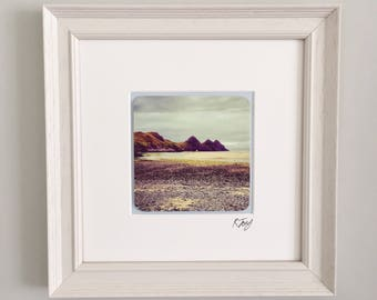Three Cliffs Bay, Gower, wooden framed vintage effect photo art print by Rebecca Jory.