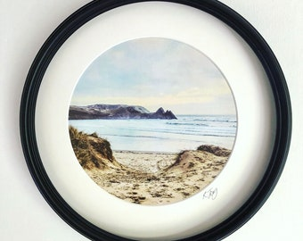 Porthole Framed photo art Print. Three Cliffs Bay from the dunes, Gower. Vintage effect photographic art print by Rebecca Jory.