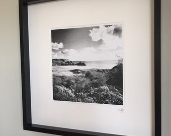 Black & White photography print, Framed Gower Photo Art Picture by Rebecca Jory, Three Cliffs Bay, small and large sizes.