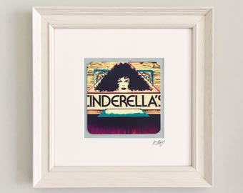 Cinderella's, Mumbles, Gower, wooden framed vintage effect photo art print by Rebecca Jory.
