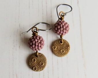 Handmade artisan bead earrings - Violet Gold  - handmade artisan bead  earrings in copper-violet and bronze - songbead