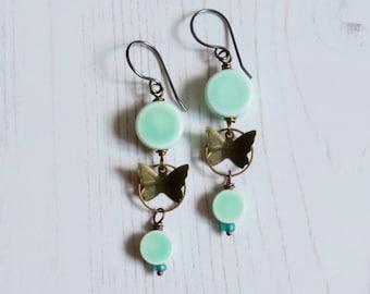 Handmade long turquoise butterfly earrings - Flutter - artisan bead long ceramic earrings, narrative jewellery, songbead, uk jewellery