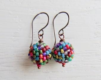 Hazy Rainbow - handmade artisan bead earrings in soft vibrant rainbow tones with sterling silver earwires