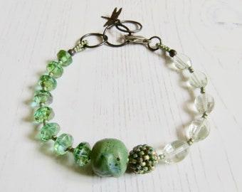 Handmade artisan bead turquoise green bracelet -Lakeside - eclectic bohemian jewellery, songbead uk