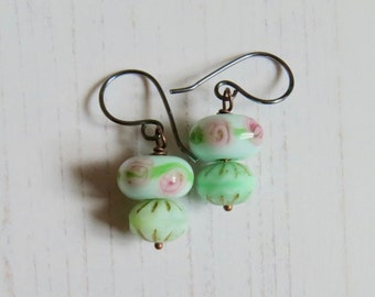 Handmade artisan bead drop earrings - Printemps - in eau de nil green and blush pink with lampwork and pressed glass   - Songbead UK