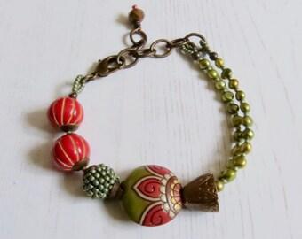 Handmade artisan bead bracelet - Hedgerow - artisan bead bracelet in red amber green with freshwater pearls - Songbead, UK