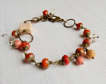 Handmade artisan bead bracelet - Bittersweet - artisan bead autumn bracelet, orange bracelet, Songbead