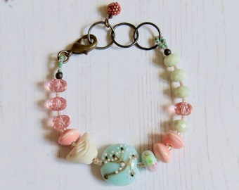 Handmade artisan bead pink turquoise bracelet - Printemps -  soft turquoise and blush pink with handmade beads  - uk, Songbead