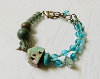 Handmade artisan bead turquoise birdhouse bracelet - Forest Light - eclectic bohemian jewellery, songbead uk, bird, cottage