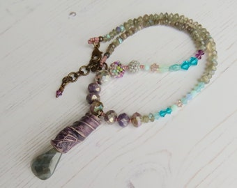 Handmade grey turquoise purple necklace - Within - handmade artisan beaded bohemian necklace - adjustable length, Songbead