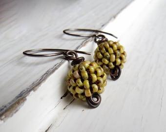 Handmade yellow bead earrings - handwoven lemon yellow Picasso glass bead earrings with oxidised silver loops - Songbead UK OOAK