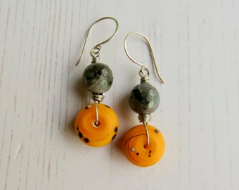 Handmade artisan bead yellow earrings - Sun Drops - yellow lampwork and labradorite earrings, eclectic bohemian jewellery, songbead uk