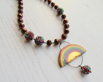 Sunshine and Rainclouds - handmade artisan beaded rainbow necklace - adjustable length, Songbead