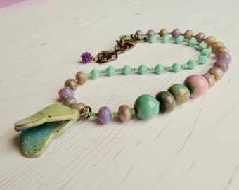 Buddleia - handmade bohemian beaded necklace with artisan beads in lilac purple and turquoise with butterfly pendant - Songbead