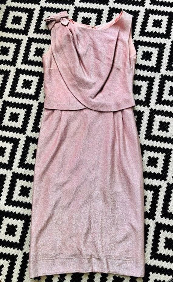 Late 1950s cocktail dress pink lurex evening dress