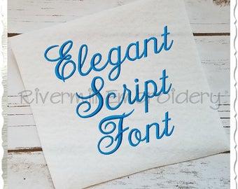 Elegant Script Machine Embroidery Font Monogram Alphabet