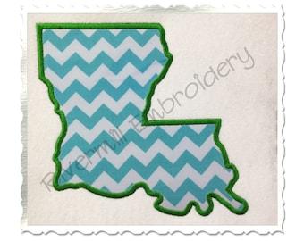 State of Louisiana Applique Machine Embroidery Design - 4 Sizes