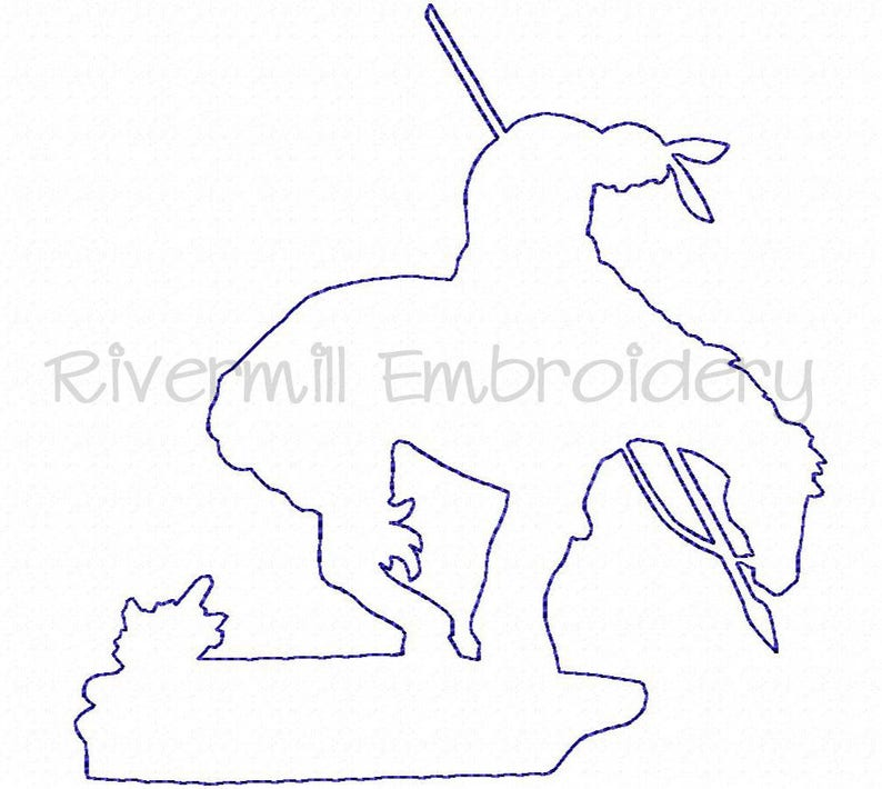 End of the Trail Indian on Horse Raggy Applique Machine Embroidery Design -  4 Sizes