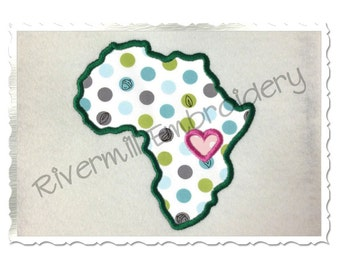 Applique Africa with a Heart Machine Embroidery Design - 4 Sizes