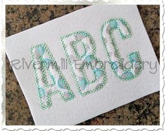 Walter Diamond Edge Applique Machine Embroidery Font Alphabet - 4 Sizes