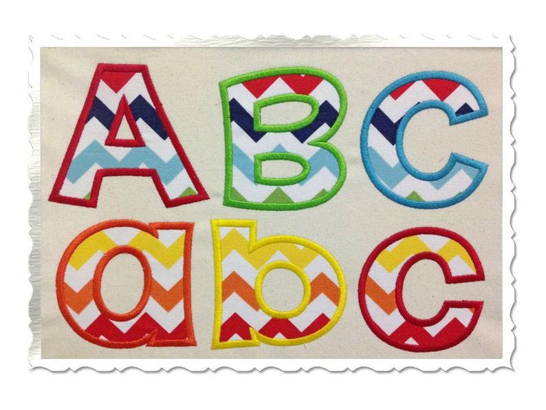 Happy Applique Machine Embroidery Font Alphabet  4 Sizes image 0
