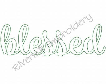Raggy Applique Script Blessed Machine Embroidery Design - 4 Sizes