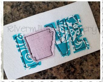 Small Raggy Applique Arkansas Love Machine Embroidery Design - 3 Sizes