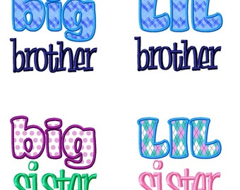 4 Pack - Lil Big Brother & Sister Applique Machine Embroidery Design - 2 Sizes Each