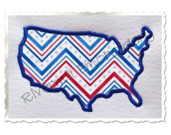 United States USA Applique Machine Embroidery Design - 4 Sizes
