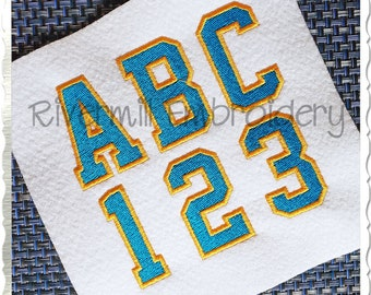 2 Color Varsity Style Machine Embroidery Font Alphabet