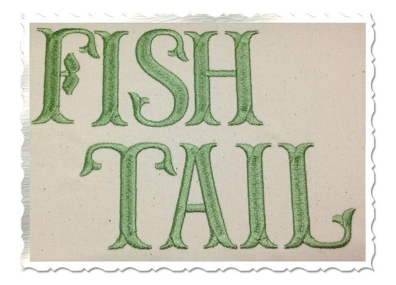 Fish Tail Machine Embroidery Font Monogram Alphabet - 3 Sizes photo