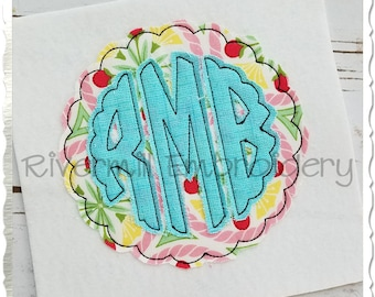 Scalloped Circle Raggy Applique Machine Embroidery Font Alphabet - 4 Sizes
