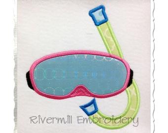 Applique Swim Goggles & Snorkel Machine Embroidery Design - 4 Sizes