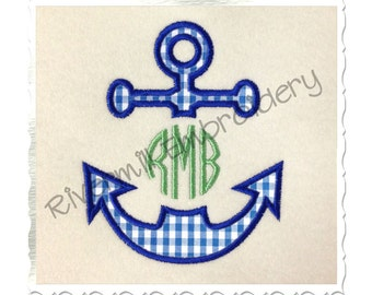 Applique Anchor Monogram Frame Machine Embroidery Design - 4 Sizes