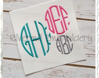 Oval 3 Letter Monogram Machine Embroidery Font Alphabet - 3 Sizes