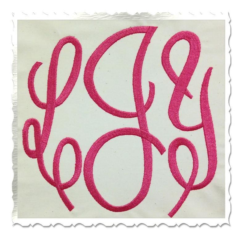 Large Classic 3 Letter Monogram Machine Embroidery Font Alphabet - 3 Sizes photo