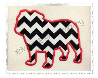 Applique Bulldog Silhouette Machine Embroidery Design - 4 Sizes