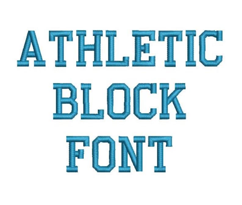 Athletic Block Machine Embroidery Font Monogram Alphabet - 3 Sizes photo
