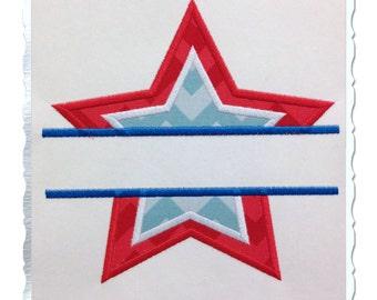 Split Star Applique Machine Embroidery Design - 5 Sizes
