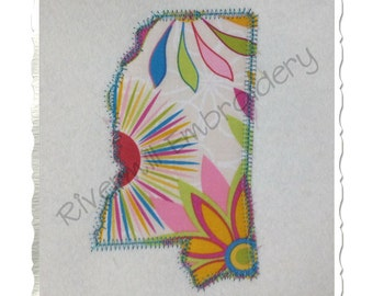 State of Mississippi Zig Zag Applique Machine Embroidery Design - 4 Sizes