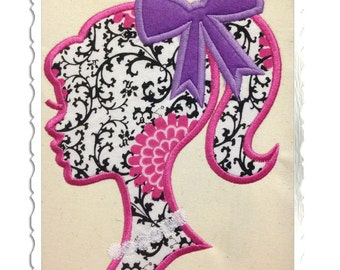 Applique Silhouette Ponytail Girl with Bow & Necklace Machine Embroidery Design - 4 Sizes