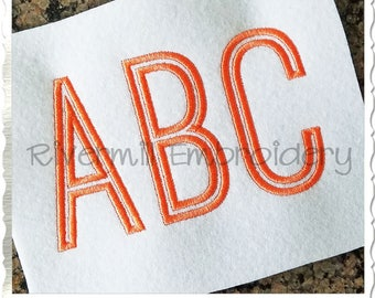 Tall Thin Outline Machine Embroidery Font Monogram Alphabet - 3 Sizes