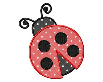 Ladybug Applique Machine Embroidery Design - 3 Sizes